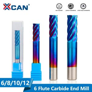 XCAN 1pc 6 Flute End Mill 6/8/10/12mm Nano Blue Coating CNC Milling Machine Spiral Router Bit Milling Cutter