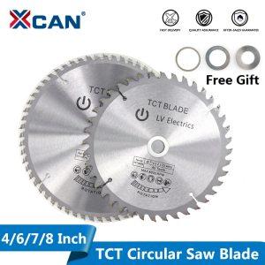 XCAN 1pc 4'' 6'' 7'' 8'' Wood Saw Blade 30/40/60T TCT Circular Saw Blade For Cutting Wood Plastic Carbide Cutting Disc