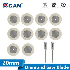 XCAN Diamond Cutting Disc 10pcs 20mm Mini Rotary Tool Blades with 2pcs 3mm Shank for Cutting Glass Stone Diamond Saw Blade