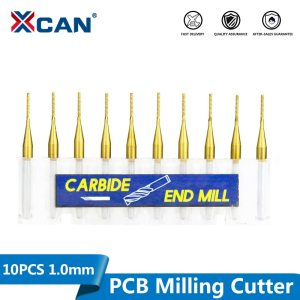 XCAN 10pcs 1.0mm Titanium Coated Carbide End Milling Cutter PCB Engraving Edge Cutter CNC Router Bits End Mill for PCB Machine