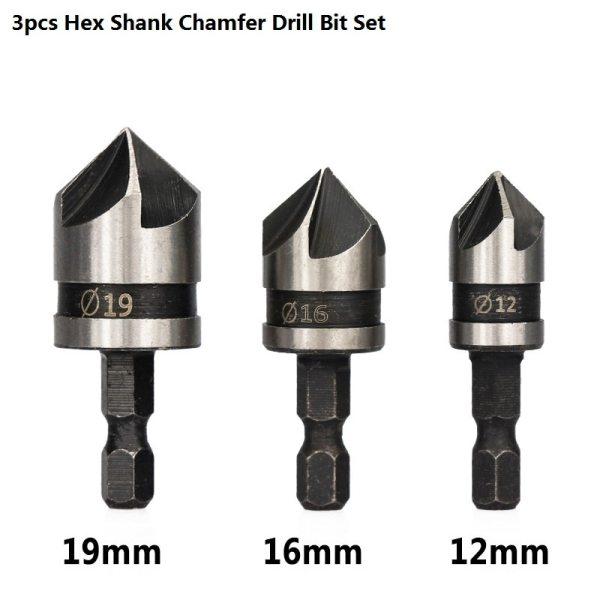 82 Degrees Chamfer Drill Bit Set 12/16/19mm 5 Flute Wood working Drill Bit Cutter Countersink Drill Bit Set