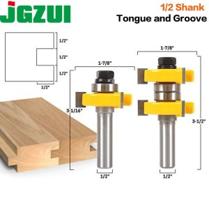 "1-1/2"" 2 Bit Tongue and Groove Router Bit Set - Joint Assembly Router Bit Set 1-1/2"" Stock Wood Cutting Tool-RCT15210"