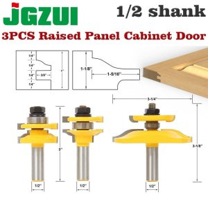 "3 Bit Raised Panel Cabinet Door Router Bit Set- Bevel-1/2"" Shank 12mm shankWoodworking cutter Tenon Cutter for Woodworking Tools"