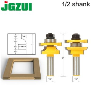 "1/2"" Shank Rail & Stile Router Bits - Matched 2 Bit door knife Woodworking cutter Tenon Cutter for Woodworking Tools"
