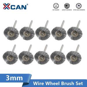 XCAN Wheel Brush Kit 10pcs 22mm Stainless Steel/Brass/Nylon for Polishing Grinding 3.0mm Shank Rotary Polishing Brush