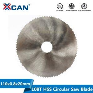 XCAN 1pc 110x0.8x20mm 108T HSS Steel Circular Saw Blade Wood Metal Cutting Disc Slitting Saw Blade General Purpose Saw Blade