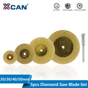 XCAN 1Set Mini Diamond Cutting Disc 20/30/40/50mm with Shank 3mm Mandrel Titanium Coated Circular Saw Blade