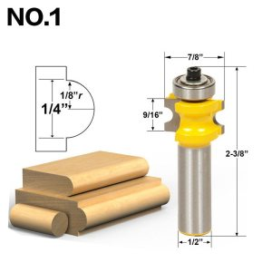 "1-5Pc Bullnose Router Bit Set C3 Carbide Tipped 1/2"" Shank 12mm shank Woodworking cutter - RCT17001"