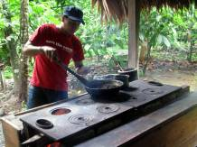 Roasting cacao nuts.