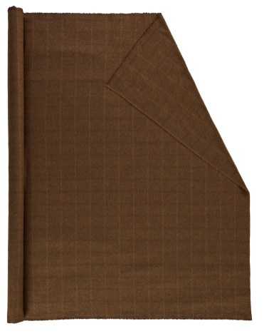 Roll of Pendleton wool fabric in a windowpane plaid of brown and gold on bronze.