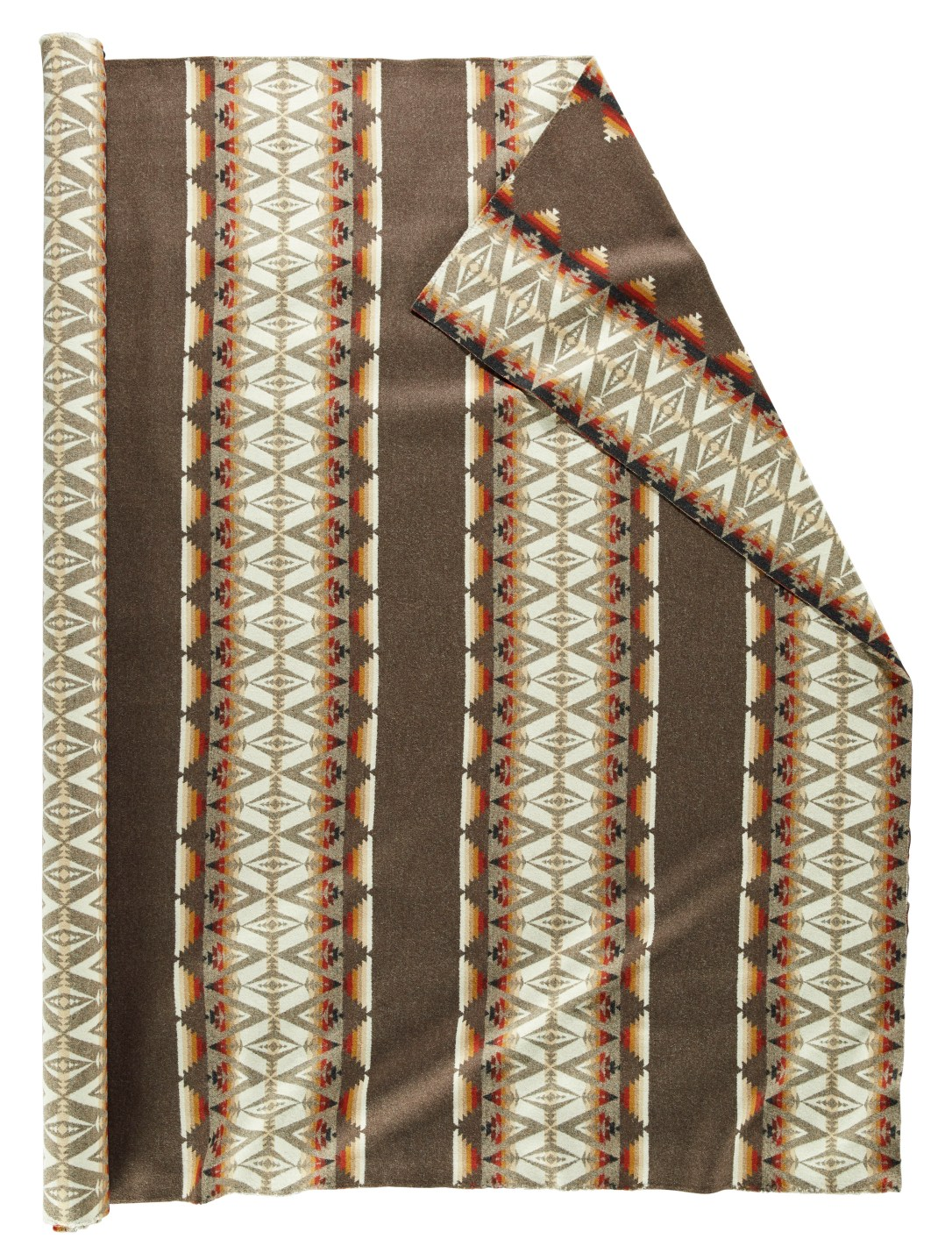 A roll of Pendleton wool fabric in Pacific Crest Brown, large horizontal stripes of light brown alternating with stripes of tree and mountain shapes in white, rust, and light brown.