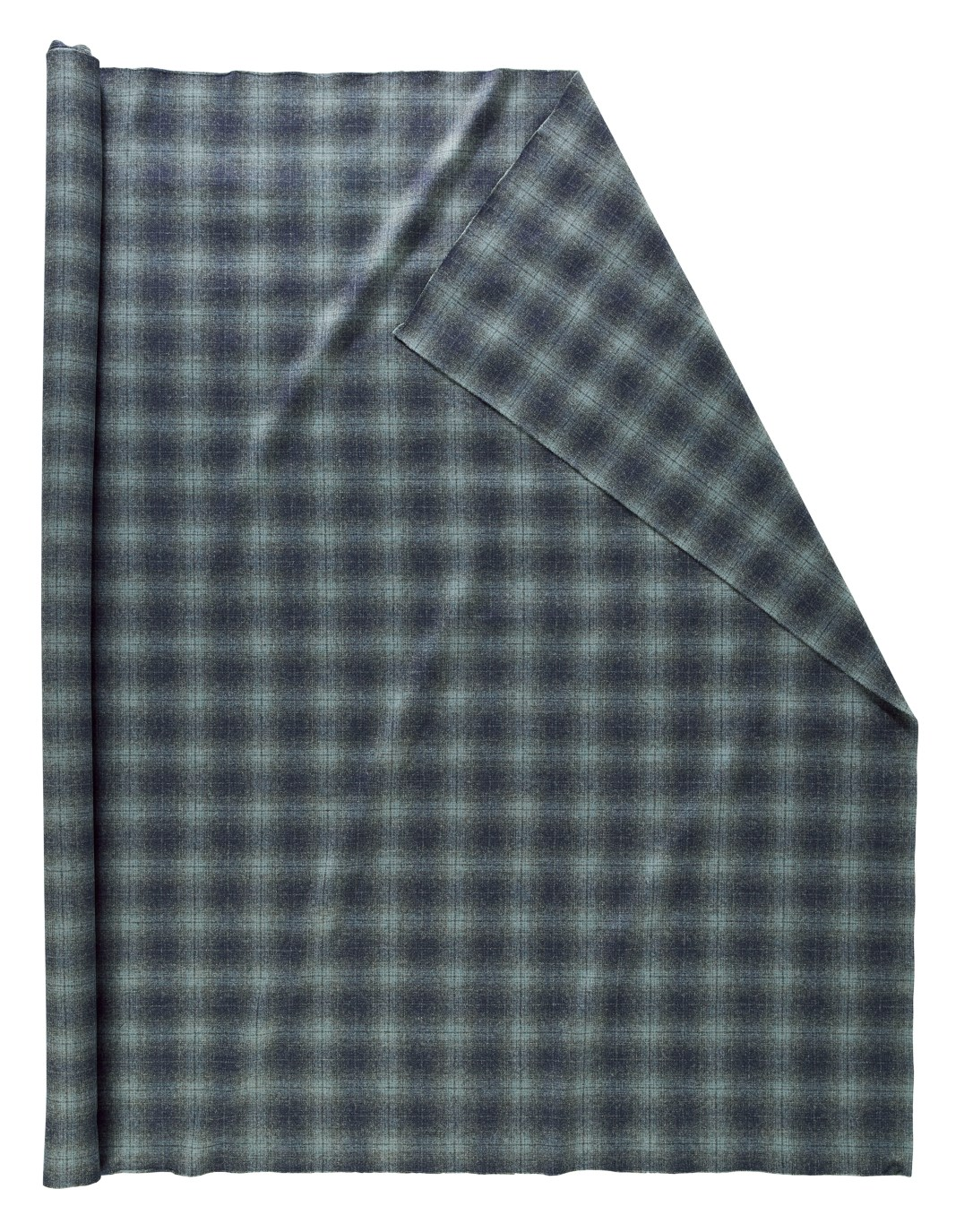 Roll of Pendleton wool fabric in a subtle plaid of light to dark greys.
