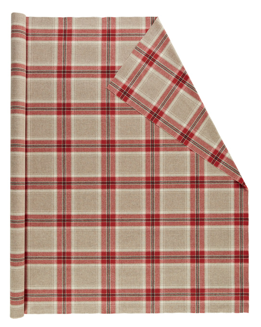 Roll of Pendleton wool fabric in tan, red and black plaid.