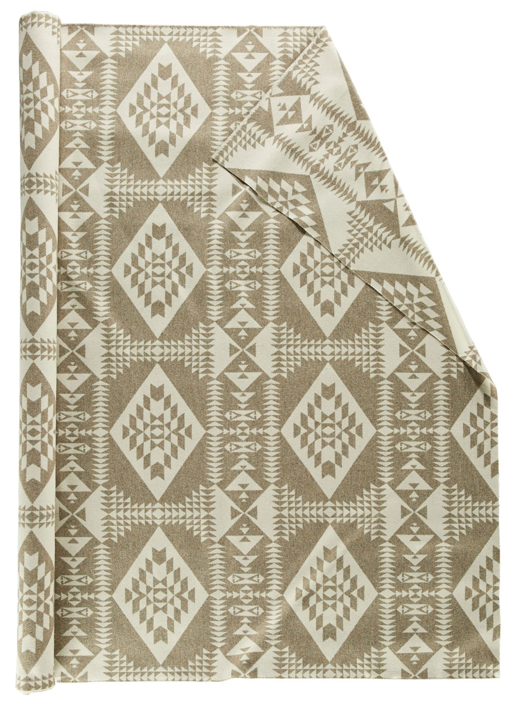 Roll of pendleton wool fabric in Basket maker Tonal, a pattern of off white and tan in diamond shaped and pillars made of arrows.