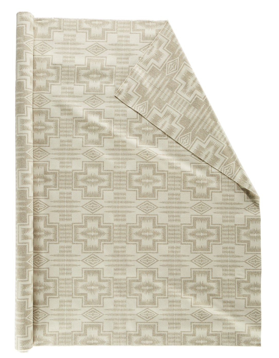 Roll of pendleton wool fabric in Harding tonal, a beige and off white pattern with crosses and arrows, very muted and subtle.