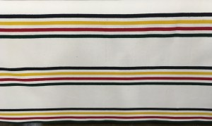 Glacier accessory weight features stripes of black, yellow, red and dark fir green on a white background, Pendleton wool fabric