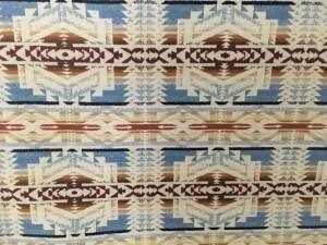 Shonto Wheatlands, tan in blue, tan and green, Pendleton wool fabric