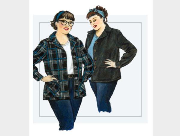 1949 illustration of Plus-size pattern; two women wearing jackets.