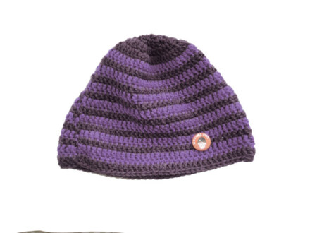 "Woolheads Beanie ""brown-purple"" – handmade"