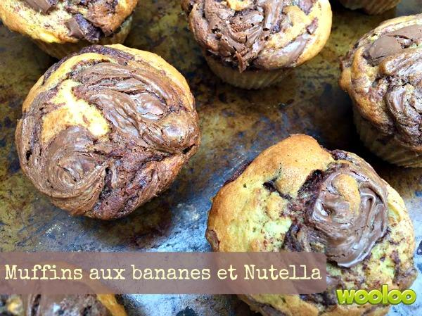 Recette de muffins aux bananes et Nutella
