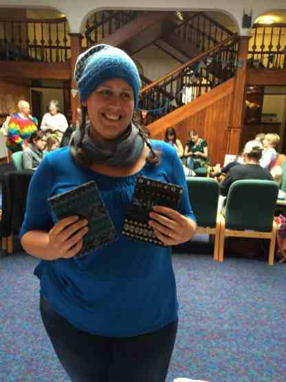 The lovely Emily Williams (check out her designs on Rav!) with her covered Fair Isle books wot she made!
