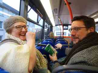 Felix and Tom on the bus on the Thursday evening, with crisps