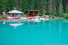 Emerald Lake reveals its vivid colors in full sunlight.