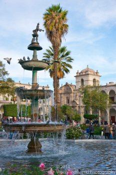 Arequipa's main square fountain