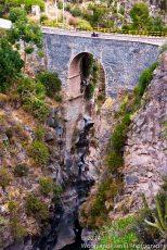 Colca Canyon begins as a steep narrow gorge.