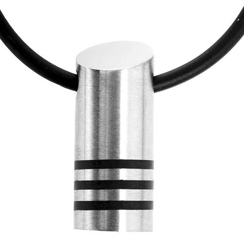 Halskæde med cylinder vedhæng med 3 sorte striber