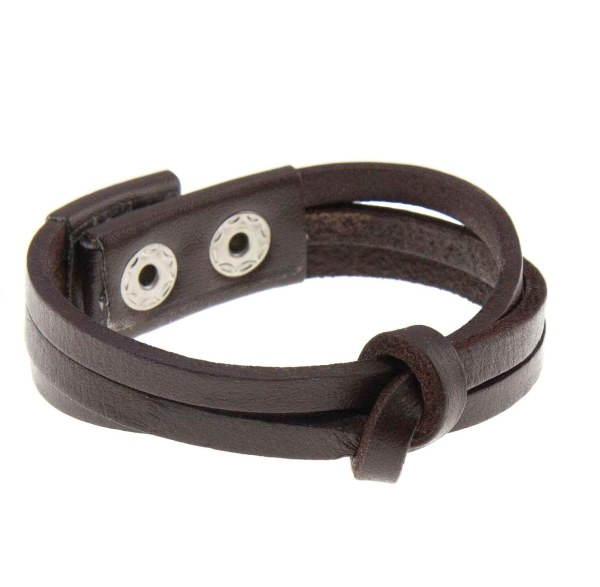 Brunt læderarmbånd med knude