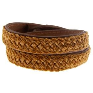 Retro 70'er armbånd med brunt læder og gul fletsnor