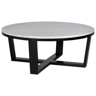 Salontafel Lexington rond 90Ø wit carrara marmer (White)