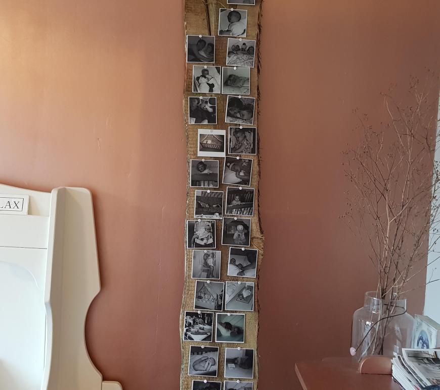 Plaatjes op een plank