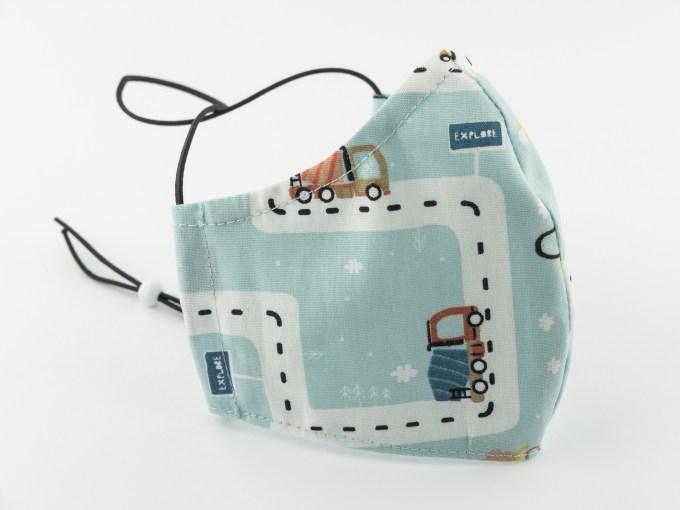 Mască bleu de bumbac cu basculante pentru copii