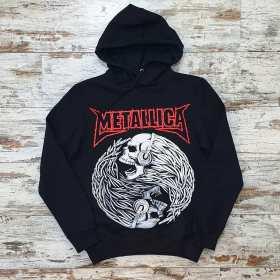 Unisex Siyah Metallica Baskılı Sweatshirt Kapşonlu