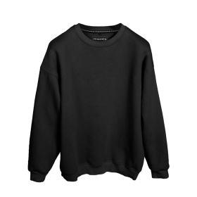 Sweatshirt Siyah Renk Baskısız Oversize Unisex