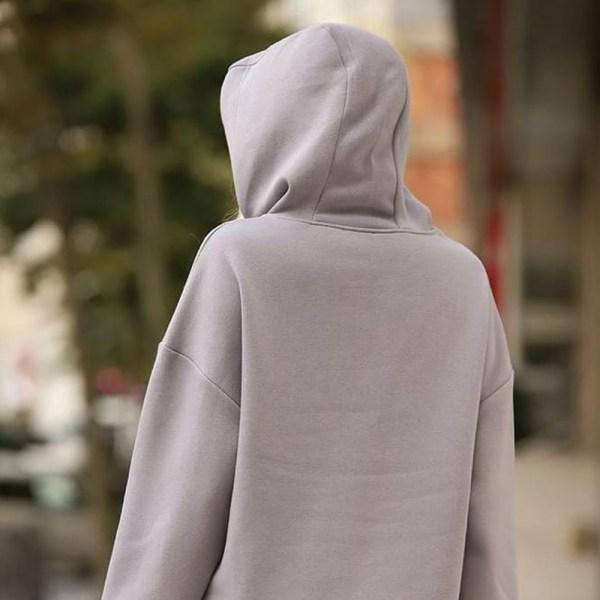 Kapüşonlu Oversize 3 Iplikli Hoodie Sweatshirt Gri