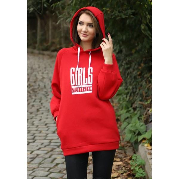 Kapüşonlu Oversize 3 Iplikli Hoodie Sweatshirt Kırmızı
