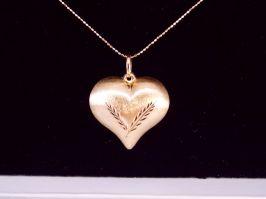 14k Puff Heart & Beaded Chain