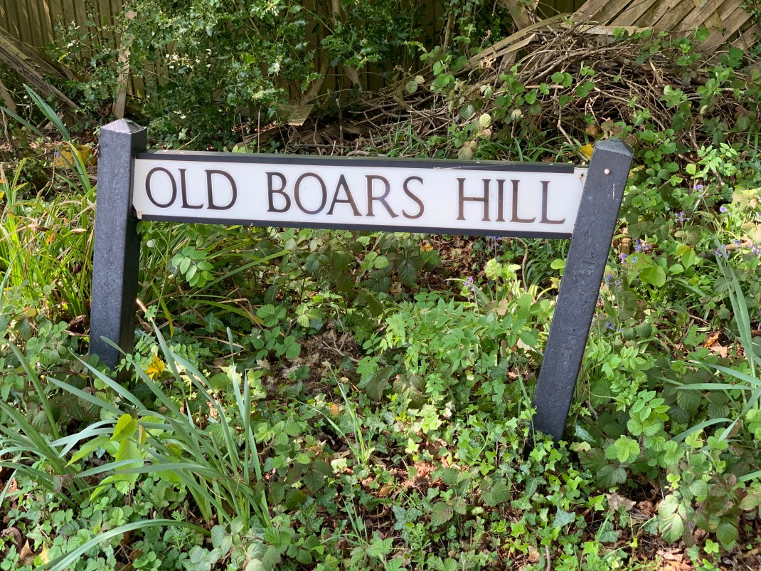wootton parish old boars hill sign
