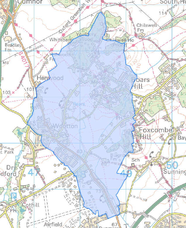 Wootton Parish Council near Abingdon boundary map
