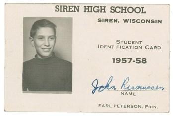 John Rasmussen, high school ID, 1957-58