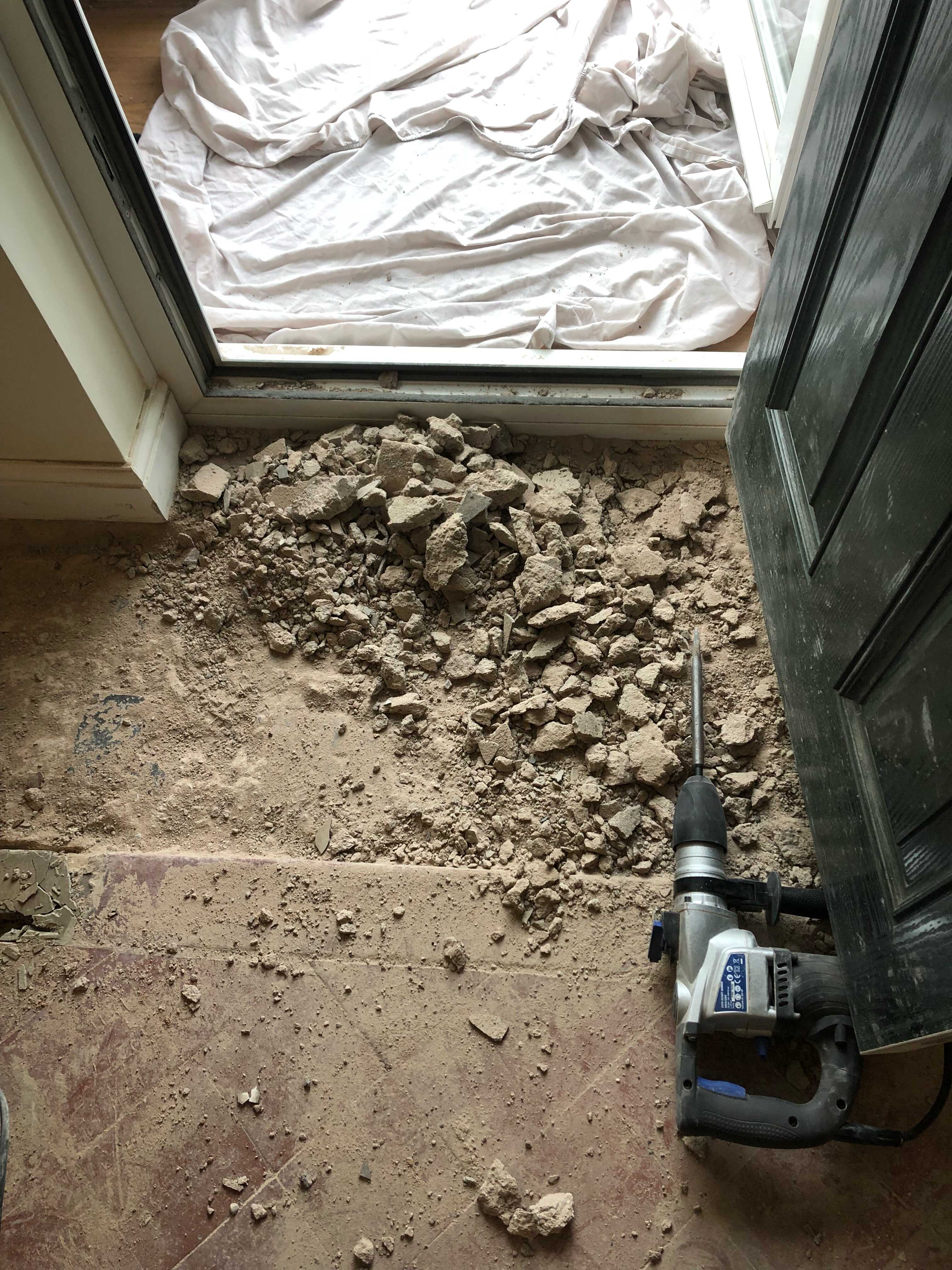Quarry Tiled Floor Extension Blakedown Kidderminster Removing Existing Screed