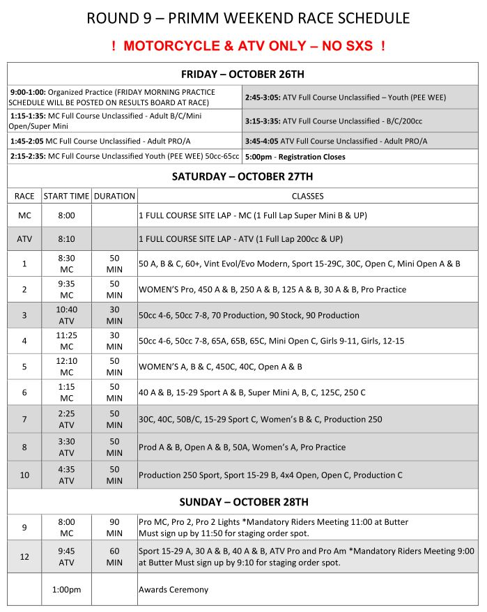 2018 Round 9 Weekend Race Schedule
