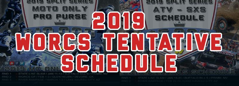 2019 Tentative WORCS Motorcycle ATV SXS Racing Schedule