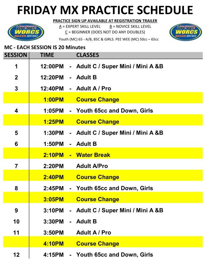 2019 MC Race Weekend Practice Schedule Web Preview