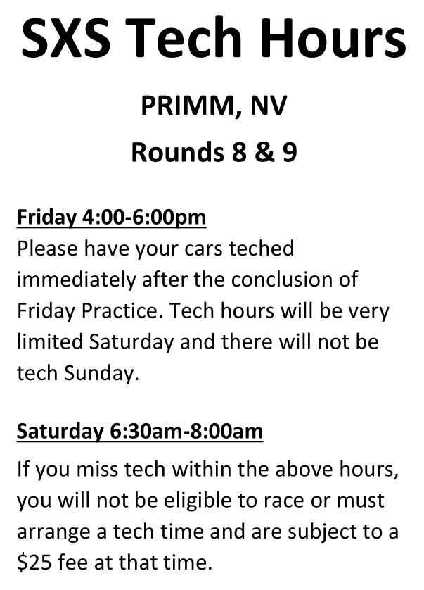 2019 Round 8 9 SXS World Finals Weekend Tech Hours