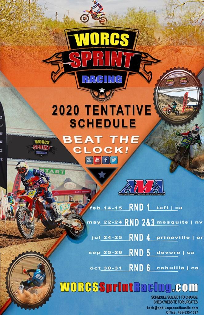 2020 WORCS AND WORCS Sprint Racing Tentative Schedules
