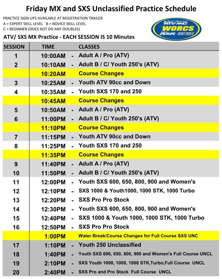 2020 Round 2 ATV SXS Friday MX and UNC Primm Schedule Web